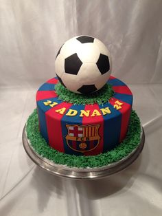 "Soccer ""FC Barcelona"" cake made by sweetsabbys Fc Barcelona, Barcelona Party, Soccer Birthday Cakes, 12th Birthday Cake, Soccer Ball Cake, Soccer Cakes, Soccer Party, Fondant Cakes, Cupcake Cakes"