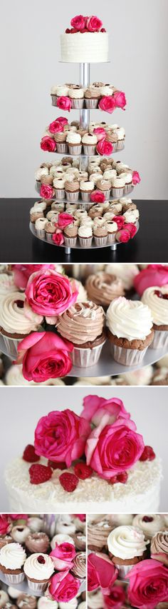Cupcake display...like this idea more than just a cake