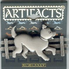 Pewter Dog Along a Fence Pin by JJ - Gift Boxed #PinorBrooch