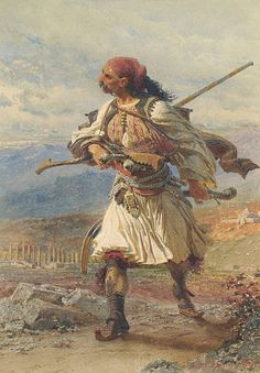 Greek Warrior 1861 Found in the collection of the Benaki Museum Athens Middle East Culture, Fall Of Constantinople, Albanian Culture, Benaki Museum, Warriors Pictures, Greek Paintings, Old Greek, Greek Warrior, Google Art Project
