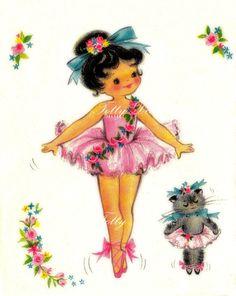 The Little Ballet Dancer 1950s Vintage by poshtottydesignz on Etsy, $2.75