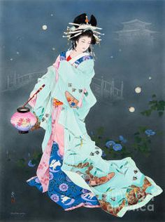 GEISHA maiko Japan Sakura cherry blossom Fantasy fairy ACEO art Brandy Woods
