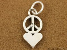 Sterling Silver Peace and Love Charm / Small Pendant by Beadspoint, $6.99
