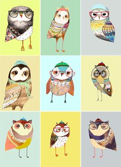 hipster owls / Ashley Percival