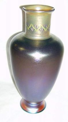 decorated Tiffany art glass vase