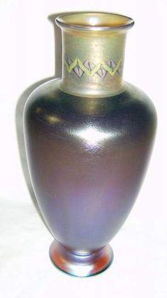decorated Tiffany art glass vase