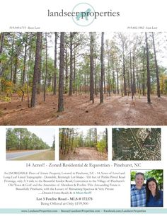 Now Available!! - 14 Residential & Equestrian ACRES, in Pinehurst!!