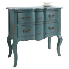 £159.95 Featuring a French-country inspired silhouette and two drawers, this blue-finished chest fits seamlessly into your master suite scheme.