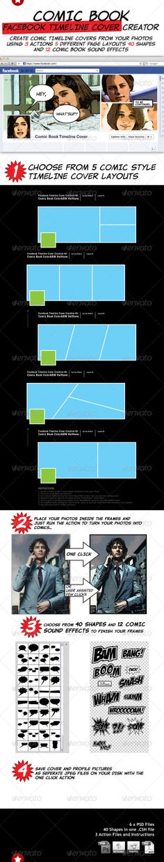 Comic Book Facebook Timeline Cover Creation Kit - Photoshop Add-ons