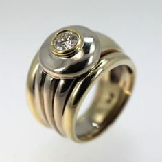 Yellow and White Gold Bezel Set Diamond Ring Byzantine Style Two Tone Ring Symbol of love .5 ct.