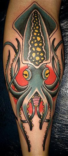 Simple squid color tattoo