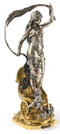 Auguste Louis Mathurin Moreau French, 1834 - 1917 LE CHAR DE L'AURORE signed Auguste Moreau with a plaque inscribed LE CHAR de L'AURORE / par AUG MOREAU / RÉCOMPENSÉ AU SALON bronze, silver and gilt patina height 33 1/4 in.| Sotheby's