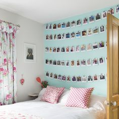 Framed photo galleries may have been done time and time again, but these streams of Polaroid photos hanging like clothes from a washing line are perfect in a teen's bedroom