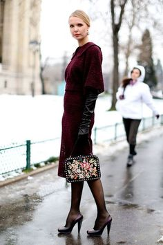 Burgundy lace with baroque ladylike bag | Street #Fashion @ Couture Spring Summer 2013 #Paris #HauteCouture