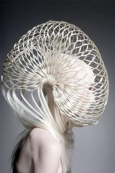 Avant Garde Hairstyle ~ We do not throw hair away it's used for Hair sculpture by professional artists. Creative Hairstyles, Cool Hairstyles, Avant Garde Hairstyles, Body Adornment, Fantasy Hair, Fantasy Makeup, Hair Shows, Sculptural Fashion, Crazy Hair