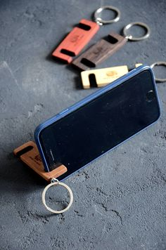 Custom Phone Stand Key Chain Personalized iPhone Holder Wood