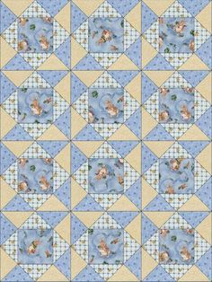 This cute quilt kit is not just for the Easter season. Make a nice baby quilt with this kit. brown bunny rabbits some dressed in a pinafore Red Rooster Fabrics.