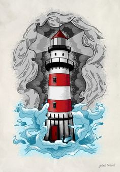 - Old School Lighthouse Sketch, Lighthouse Painting, Traditional Lighthouse Tattoo, Traditional Tattoo, Art Drawings Sketches, Tattoo Drawings, Herz Tattoo, Desenho Tattoo, Lettering Styles