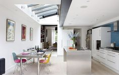 Private House, Kentish Town by south studio Kitchen Lighting Layout, Kitchen Layout, Kitchen Design, Extension Veranda, Kitchen Diner Extension, Open Plan Kitchen Dining, House Extensions, Kitchen Extensions, Home Kitchens