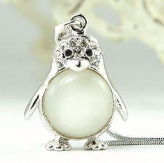 Penguin Clear Emperor White Belly W Swarovski by Jewelryandvintage, $29.00