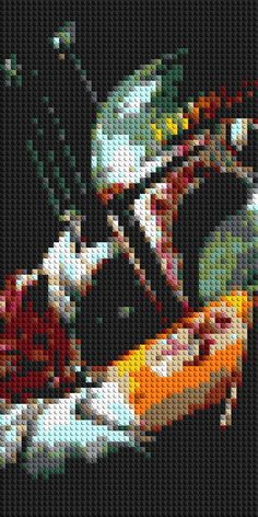 Boba Fett Star Wars LEGO® Mosaic - 15 in x 30 in - By CreativeSquareStudio