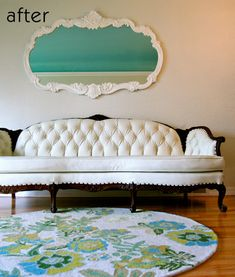 Before and after sofa (design sponge) Super cool white with dark wool, love all of the tufting