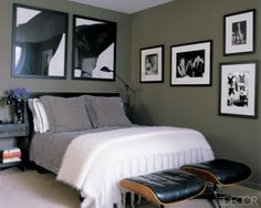56 Stylish and Masculine Bedroom Design Ideas | ...I like the placement of the frames on the walls