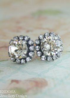 Light silk Swarovski crystal halo stud earrings   Valentine's gift for her   www.endorajewellery.etsy.com