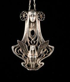 France. 'Sphinx' pendant, c1910. Silver. Art Nouveau