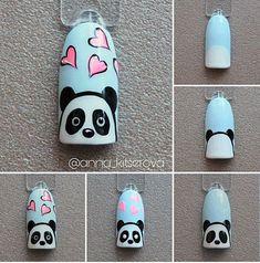 Pin on White Coffin Shaped Nails Pin on White Coffin Shaped Nails Cartoon Nail Designs, Animal Nail Designs, Animal Nail Art, Nail Art Designs Videos, Cute Nail Art, Nail Art Diy, Easy Nail Art, Diy Nails, Panda Nail Art