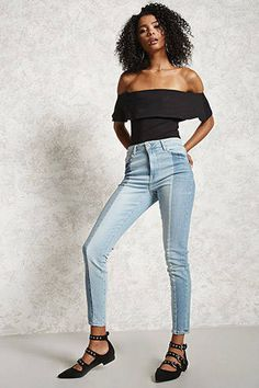 Contrast-Wash Jeans