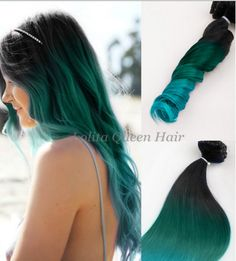 Teal Hair ExtensionsBlack Teal Green Turquoise by LolitaQueenHair