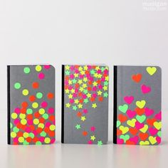 Diy back to school : DIY Easy Neon Confetti Notebook