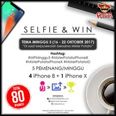 #Lomba #Foto #Selfie #MisterPotatoIndonesia Selfie & Win 2017-2018 Lomba Foto Mister Potato Indonesia Berhadiah 80 iPhone  DEADLINE: 21 Januari 2018  http://infosayembara.com/info-lomba.php?judul=selfie-win-2017-2018-lomba-foto-mister-potato-indonesia-berhadiah-80-iphone