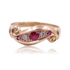 Antique Edwardian 1917 Hallmarked 5 Stone Garnet and Diamond 18 Karat Gold Scroll Ring Size 7 Everyday Rings, Garnet Rings, Carat Gold, Red Garnet, Gold Bands, Vintage Rings, Antique Jewelry, Diamond, Antiques
