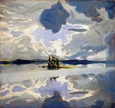 Clouds Above a Lake Painting by Akseli Gallen Kallela, Oil Painting Lake Painting, Painting & Drawing, Landscape Art, Landscape Paintings, Oil Paintings, Art Plastique, Art Nouveau, Fine Art Prints, Art Gallery