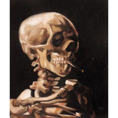 Schädel eines Skeletts mit brennender Zigarette - Van Gogh berühmte gemälde