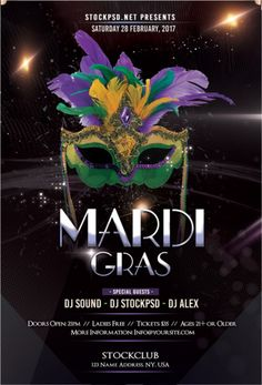 Mardi Gras Party PSD Flyer Template For And Carnival Events Background Tagged at carlynstudio. Free Psd Flyer Templates, Mardi Gras Party, Party Flyer, Graphic Design Posters, Special Guest, Carnival, Flyers, Events, Ruffles
