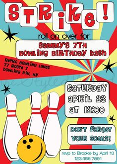 "Set em up for this retro bowling themed birthday party invitation for the little bowler in your life. Bowling is for all ages, so make sure to customize this design to fit your party needs. Two color ways available, but if your party has a different color theme, you can customize this invitation to fit your party!  Size of invitation: 5"" x 7"" (fits in A7 envelope)  *Special Note*  This listing is for a digital file ONLY. No physical item will be sent to you. Please follow the instructions…"