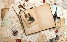old papers, french post cards and open diary book. romantic vintage background by LiliGraphie, via ShutterStock Vintage Letters, Old Letters, Writing Letters, Print Letters, Essay Writing, Hd Vintage, Vintage Love, Vintage Travel, Vintage Ladies