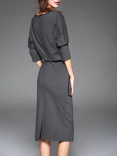 Gray Bateau/boat Neck Cotton-blend Sheath 3/4 Sleeve Midi Dress