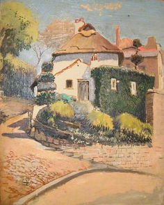 """Albert Walker paintings """"A street corner with a large house"""". This appears to be the thatched cottage in Knaresborough, near the river-side. Albert Walker 1900-1984."""