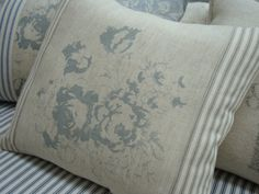 PaRiS CaBBaGe RoSeS FrencH Natural Linen by Sassycatcreations