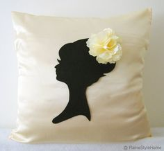 Elegant Cameo Champagne And Black Pillow Cover. by RaineStyleHome