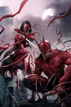 Elektra and Daredevil (Venomized) by Francesco Mattina