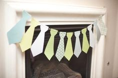 Green and Blue Neck Ties for a Little Man Themed Boy Baby Shower