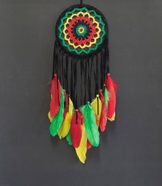 Dream Catcher Crochet Rasta Raggae color Wall Hanging Home Decor Ornament Suede Dreamcatcher Handmade Ornament long 20 inches by Chanyahandbag on Etsy