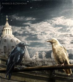 Creds to the stock holders Used stocks: [link] sky [link] vatican [link] black raven [link] white raven The rest is my own resources Angels and Demons White Raven, Crow Art, Crows Ravens, Angels And Demons, S Pic, Bald Eagle, Mythology, Sky, Bird