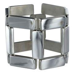 Georg Jensen sterling silver Modernist bracelet No. 195. The bracelet was designed by Astrid Fog circa the 1970's.