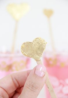 DIY Gold Leaf Heart Drink Stirrers
